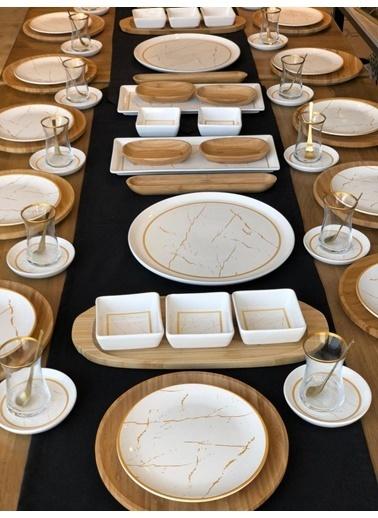 ROSSEV Kahvaltı Takımı 12 Kişilik Beyaz Mermer 80 Parça Renkli